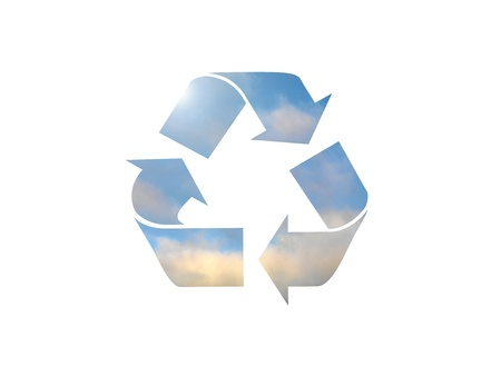 A recycle symbol isolated against a white background photo