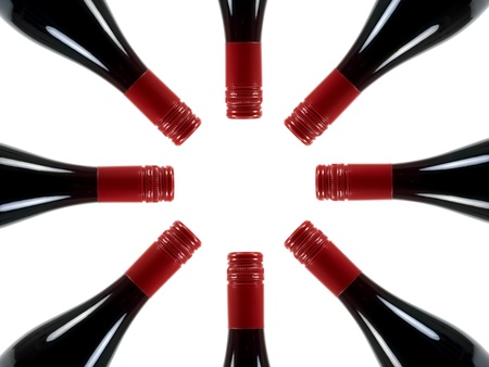 racks: Redn wine bottles isolated against a white background