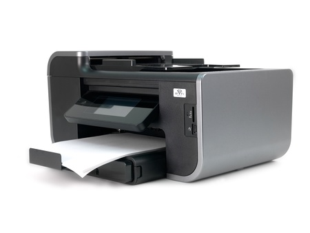 A multi function printer isolated against a white background Stock Photo