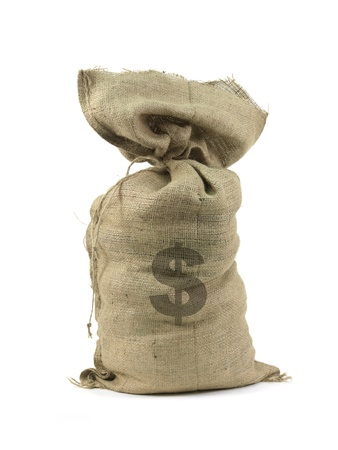 hessian bag: A hessian bag with cash isolated against a white background Stock Photo