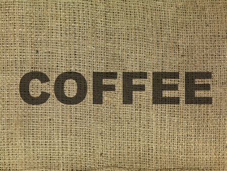 The word coffee on a hessian bag  photo