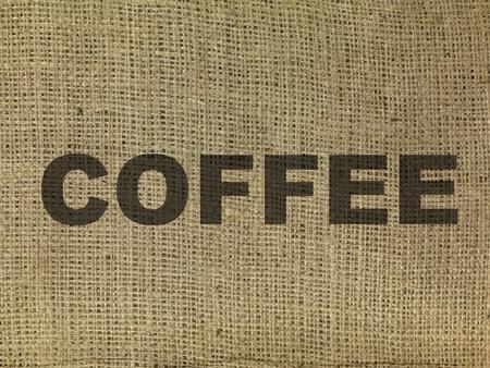 The word coffee on a hessian bag  photo
