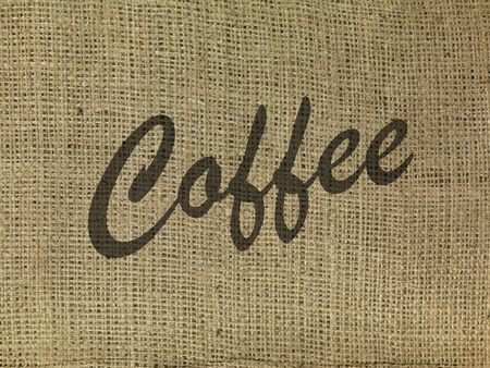 hessian bag: The word coffee on a hessian bag  Stock Photo