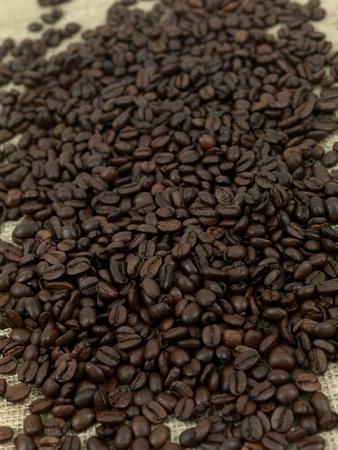 hessian bag: Coffee beans on a brown hessian bag