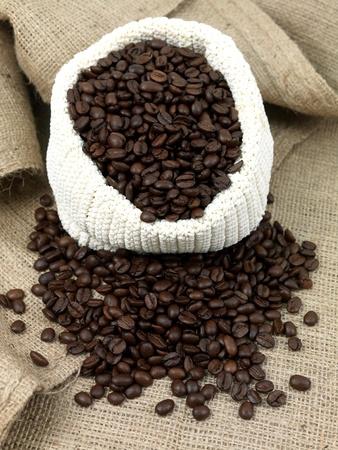 hessian bag: Coffee beans woven bag on hessian bag