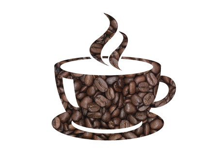 sacco juta: Chicchi di caff� a forma di una tazza di caff� Archivio Fotografico