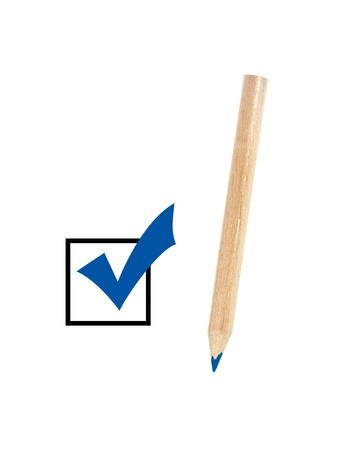 A colored blue pencil ticking a box Stock Photo - 9015930