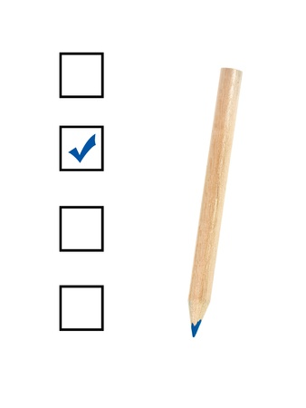 A colored blue pencil ticking a box Stock Photo - 9015928