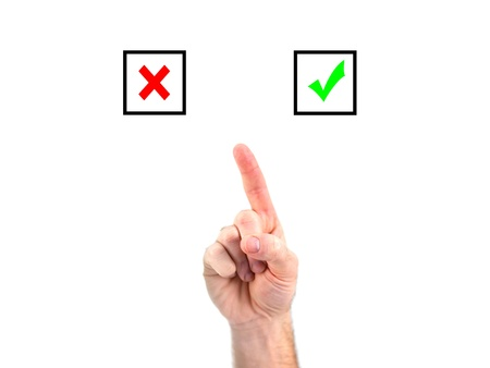 A male hand choosing yes or no Stock Photo - 9015937