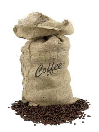 sacco juta: Chicchi di caff� intorno un sacchetto di Hesse isolata on white Archivio Fotografico