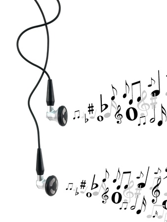 earphone: Music earphones isolated against a white background Stock Photo