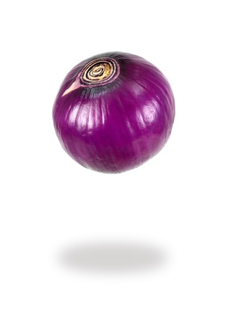 aftertaste: A red onion isolated against a white background