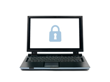 A laptop computer isolated against a white backgroun d Stock Photo
