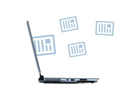 recieving: A laptop computer isolated against a white background