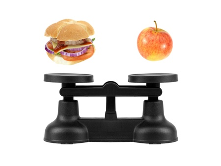 Kitchen balance scales isolated against a white background Standard-Bild