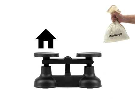 Kitchen balance scales isolated against a white background photo