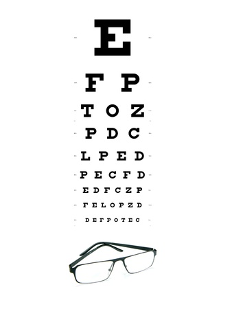 An eye chart and a pair of glasses