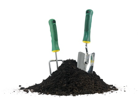 implements: Garden soil and implements isolated against a white background Stock Photo