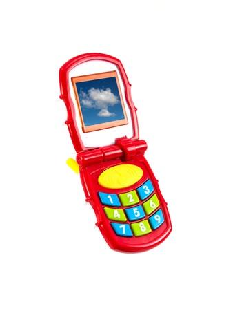 흰색 배경에 대해 격리 장난감 휴대 전화 스톡 콘텐츠