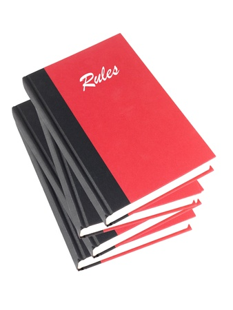 Red books isolated against a white background