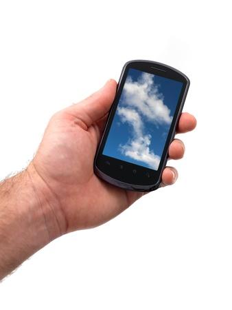 흰색 배경에 고립 된 휴대 전화