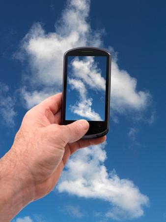 phone button: Een mobiele telefoon een foto