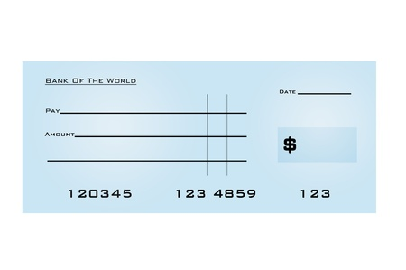 cheque: An illustration of a blank bank check Stock Photo