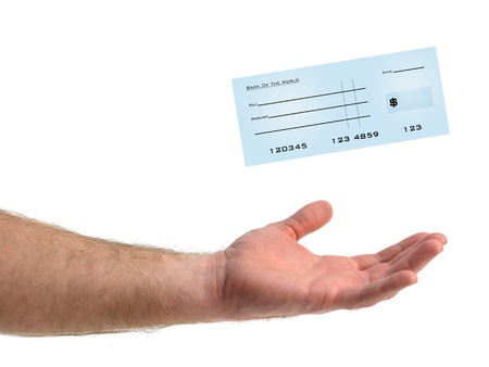 chequebook: An illustration of a blank bank check Stock Photo