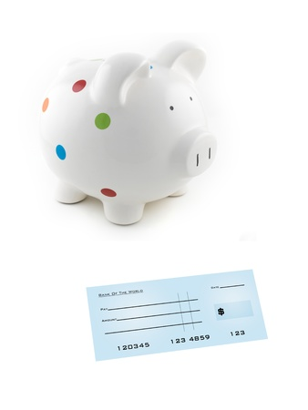 chequebook: An illustration blank bank check and a piggy bank Stock Photo