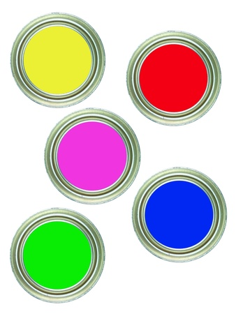 Tins of paint isolated against a white background photo