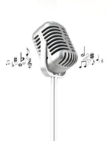 Ein Mikrofon vor einem wei?n Hintergrund isoliert