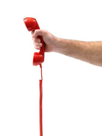 hands off: Tel�fonos aislados contra un fondo blanco Foto de archivo