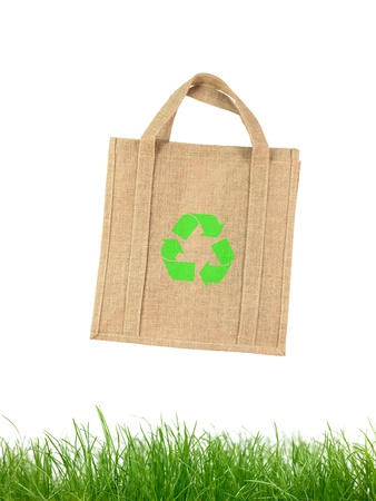 A recycle shopping bagisolated against a white background photo
