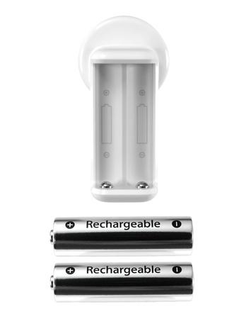 streak lightning: Rechargable batteries isolated against a white background