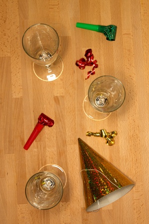 Assorted party items on a wooden floor Stock Photo - 9865814