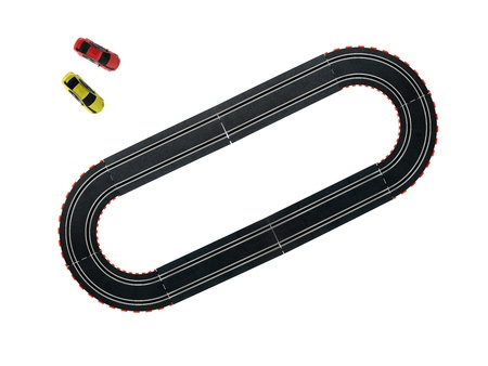 slot car track: An image of a toy slot car racing track Stock Photo