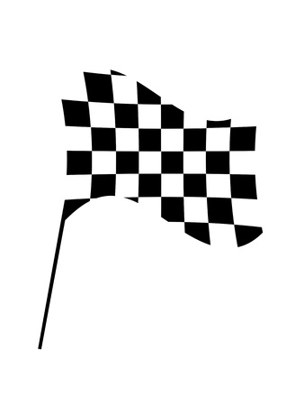 sidecar motocross racing: Checkered flags isolated against a white background Stock Photo