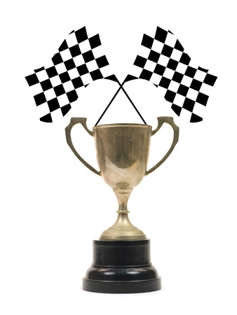 sidecar motocross racing: Checkered flags and a trophy isolated against a white background