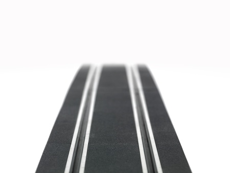 slot car track: A slot car racing track isolated on a white background Stock Photo