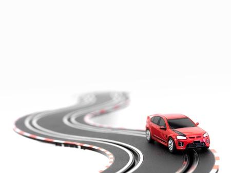 Ein Slot-Car-Rennstrecke auf einem weißen Hintergrund