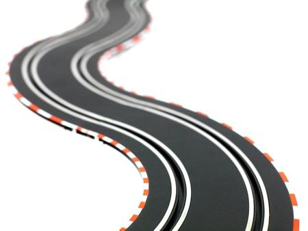 レース トラック、白い背景で隔離のスロットカー