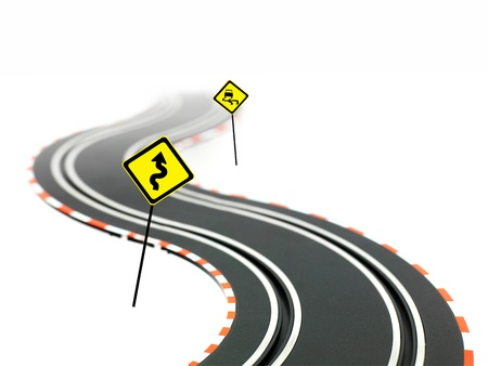 A slot car racing track isolated on a white background photo