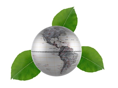 Green leaves and a globe isolated against a white background photo