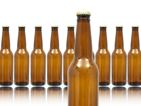 Bottles of beer isolated against a white background Stock Photo - 10011737
