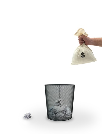 A trash bin isolated against a white background photo