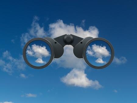 흰색 배경에 대해 격리 쌍안경