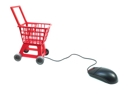 A shopping trolley isolated against a white background Stock Photo - 10011588