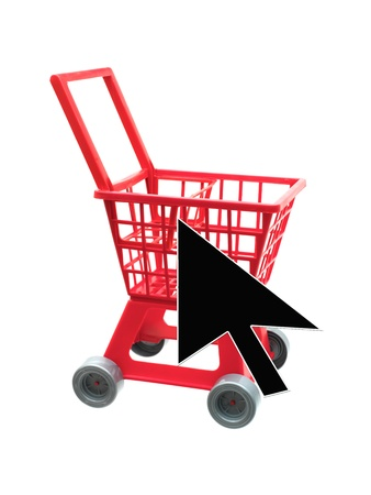 A shopping trolley isolated against a white background photo