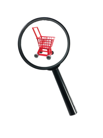 pretend: A magnifying glass and a shopping trolleyisolated against a white background Stock Photo