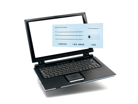 A laptop computer isolated against a white backgroun d photo